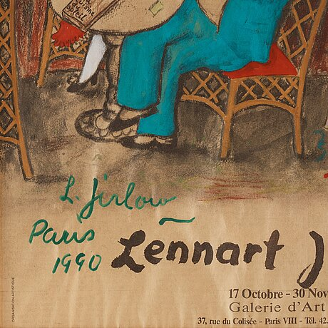 Lennart jirlow, gouache on newspaper, signed l. jirlow and dated paris 1990.