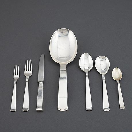 Jacob Ängman, rosenholm, bestickservis, 33 delar, silver, gab.