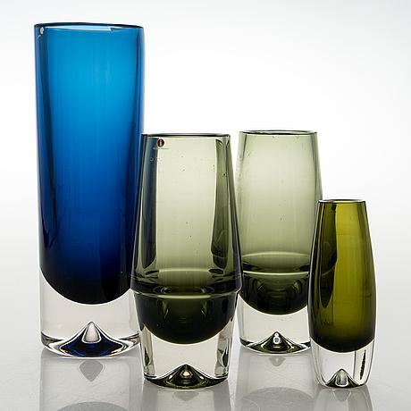 Erkki vesanto, vaser, 4 st, glas. signerade.