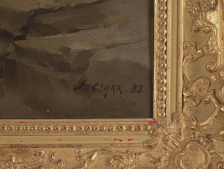 Joseph clark, olja på duk, signerad j. clark och daterad -83.