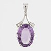 White gold, amethyst and small eight-cut diamond pendant.