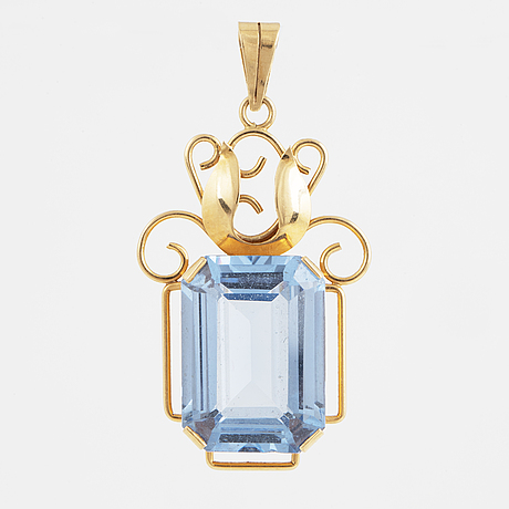 HÄnge, 18k guld med syntetisk blå spinell.