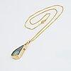 HÄnge, 18k guld, opal och små briljantslipade diamanter.