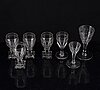A mixed lot of seven wine glasses, 19th century  gustavian style glasses,