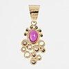 Cecilia johansson, hänge, 18k guld, rubin och gammalslipade och åttkantslipade diamanter.