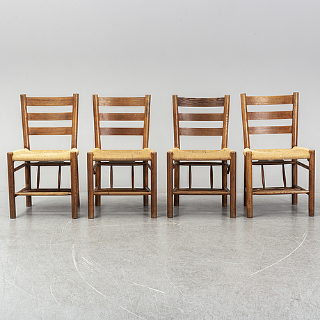 A set of 4 dining/church chairs by viggo hardie fischer for sorø stolefabrik, 1950s.