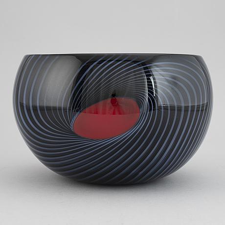 Sven-Åke carlsson, an unique glass bowl, transjö, signed.