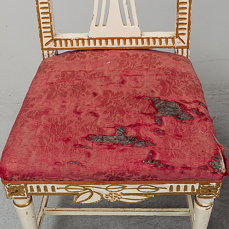 Four late gustavian chairs from lindome, around the year 1800.