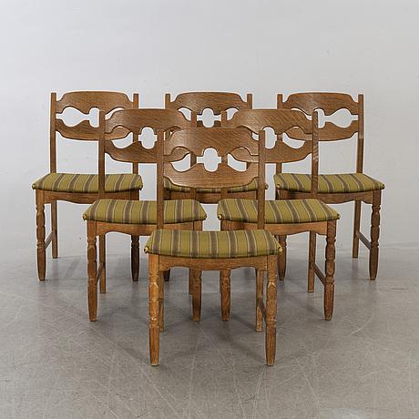 A set of six danish henning kjaerulf chairs, second half of 20th century.