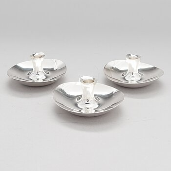 TAPIO WIRKKALA, Three silver candlesticks, Hopeatehdas Oy, Helsinki 1957-65.