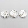 Tapio wirkkala, ljusstakar, 3 st, silver, hopeatehdas oy, helsingfors 1957-65.