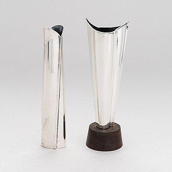 TAPIO WIRKKALA, Two silver vases (916), marked TW, Kultakeskus, Hämeenlinna 1959 and 1962.