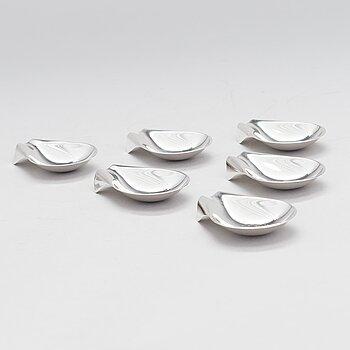 TAPIO WIRKKALA, A set of six silver ashtrays, marked TW, Kultakeskus, Hämeenlinna, Finland 1961-64.