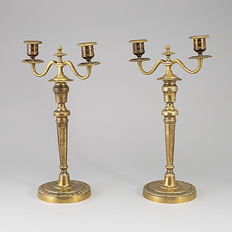 A pair of late gustavian candelabra, ca 1800.