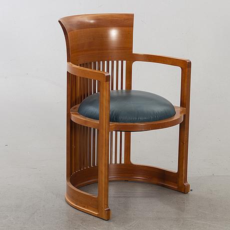 "Frank lloyd wright, karmstol, modellnr 606 ""barrel chair"", cassina nr 06168, 1986."