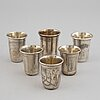 A mixed lot of six beakers, silver, moscow and kiev, russia early 20th century.