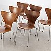 "Six arne jacobsen ""sjuan"" chairs for fritz hansen, denmark."