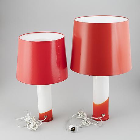 Uno & Östen kristiansson, bordslampor, två st, luxus.