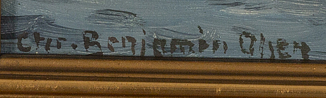 Christian benjamin olsen, a signed oilpainting on canvas.
