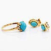 Earrings 14 k gold turquoises, diamonds approx 0,01 ct.