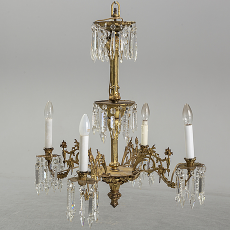 A late 19th century brass ceiling light.