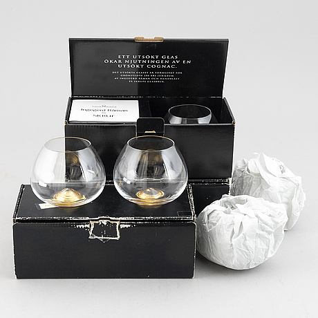 A set of six brandy tumbles ingegerd råman for skruf, sweden, 1990/2000.