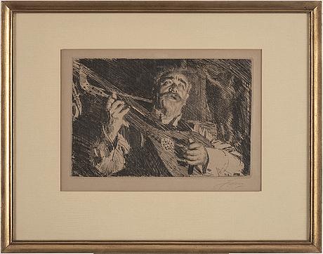 """Anders zorn, etsning, signerad zorn med blyerts. utförd 1918. """"vicke""""."""