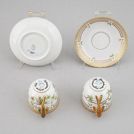 A pair of royal copenhagen 'flora danica' coffee cups with saucers, denmark.