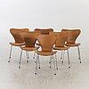"Six ""serie 7"" chairs by arne jacobsen for fritz hansen."