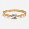 BjÖrn weckstrÖm, an 18k gold ring with a ca. 0.05 ct diamond. lapponia, helsinki 1969.
