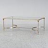 A 1970s sofa table, brass and glass.