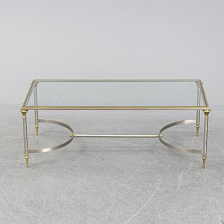 Soffbord, mässing och glas, 1970-tal.