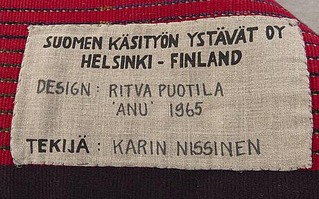 """Ritva puotila, rya, för finska handarbetets vänner """"anu"""" daterad 1965, ca 125 x 84 cm."""
