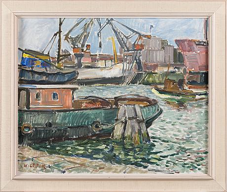 Hugo lepik, oil on canvas, signed.