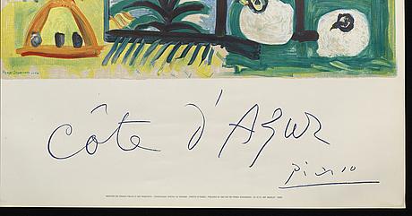 Pablo picasso, efter, färglitografisk affisch utförd av henri deschamps, signerad i trycket. tryckt av mourlot.