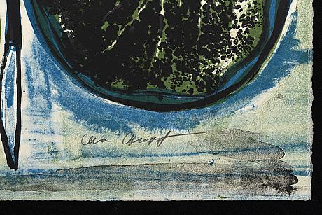 """Lena cronqvist, litografier, 2 st, ur """"august strindberg ett drömspel"""", signerad och numrerad 83/170."""