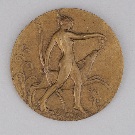 Tore strindberg, a bronze wall plate, signed.