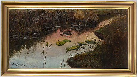 William gislander, oil on panel, signed and dated 1924 (?).