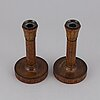 A pair of 1920s art déco wood candlesticks design olof ahlberg.