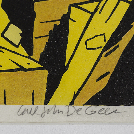 Carl johan de geer, lithografh in colors, signed and numbered 103/290.
