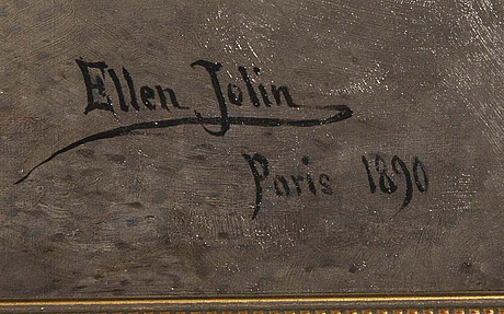 Ellen jolin, oil on canvas signed and dated 1890.
