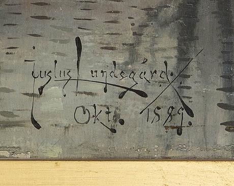 Justus lundegÅrd, olja på duk signerad och daterad 1889.