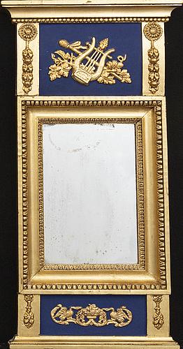 Spegel, förgylld, empire, 1800-tal.