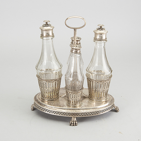Bordssurtout, silver och glas, pehr zethelius, 1809.