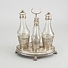 A 1809 silver and glass  pehr zethelius cruetstand.