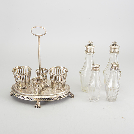 A 1809 silver and glass  pehr zethelius cruetstand.