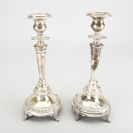 A pair of 19th century swedish silver candlesticks stockholm 1892.