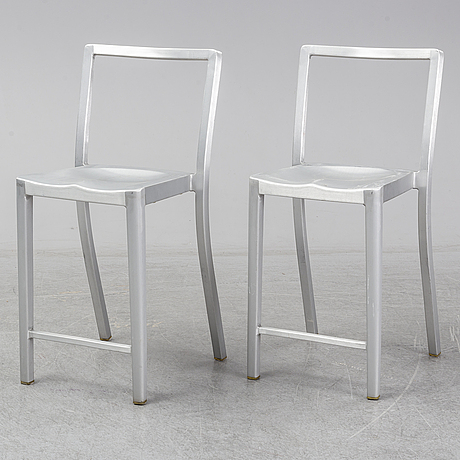 Philippe starck, a pair of 'icon' bar stools, emeco.