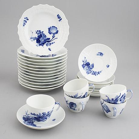 "A 35-piece royal copenhagen ""blå blomst"" porcelain coffee service, denmark, 20th century."