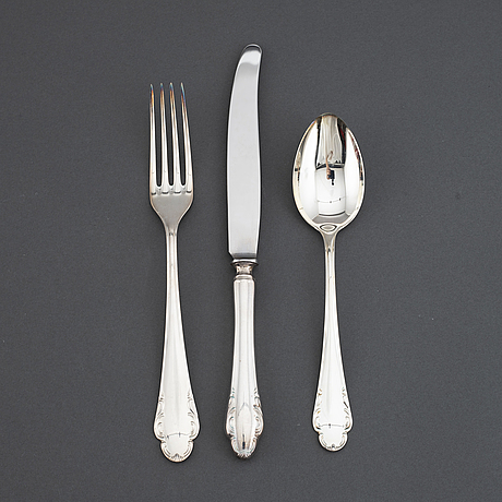 A model 'haga' silver cutlery, marked jlh, second half of the 20th century (37 pieces).